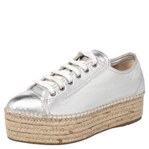 Miu Miu Metallic Silver Leather Espadrille Sneakers Size 38