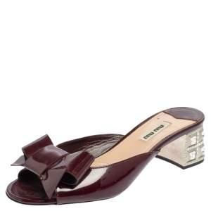 Miu Miu Maroon Patent Leather Bow Slide Sandals Size 37.5