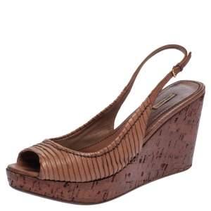 Miu Miu Brown Pleated Leather Peep Toe Platform Slingback Wedge Sandals Size 41