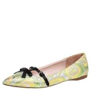 Miu Miu Multicolor Brocade Lurex And Satin Trim Giada Bow Pointed Toe Ballet Flats Size 37.5
