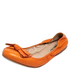 Miu Miu Orange Leather Bow Scrunch Ballet Flats Size 40