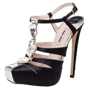 Miu Miu Black Satin Crystal Embellished Cut Out T Strap Sandals Size 37