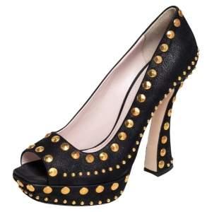 Miu Miu Black Nubuck Leather Studded Peep Toe Pumps Size 41