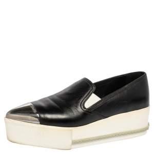Miu Miu Black Leather Cap Top Skater Slip On Sneakers Size 37.5