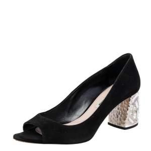 Miu Miu Black Suede Crystal Embellished Heel Peep Toe Pumps Size 36