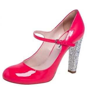Miu Miu Pink/Silver Patent Leather and Glitter Heel Strap Pumps Size 41