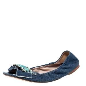 Miu Miu Blue Denim Crystal Embellished Ballet Flats Size 37