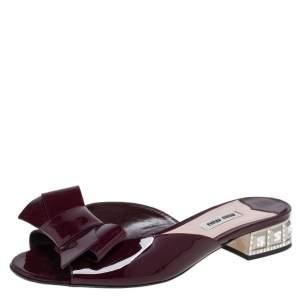 Miu Miu Burgundy Patent Leather Bow Slide Sandals Size 37.5