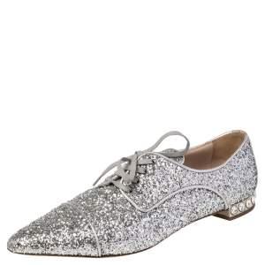 Miu Miu Silver Glitter Lace Up Oxfords Size 37