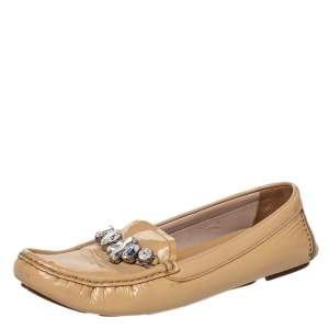 Miu Miu Beige Patent Leather Crystal Embellished Loafers Size 37