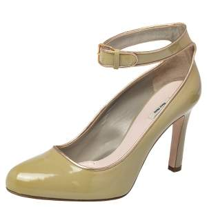 Miu Miu Geen Patent Leather Ankle Strap Round Toe Pumps Size 38.5