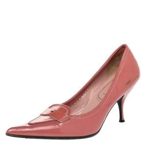 Miu Miu Pink Patent Leather Loafer Pump Size 37