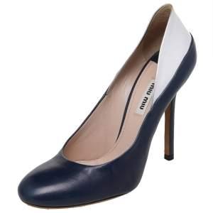 Miu Miu Silver/Blue Patent And Leather Round Toe Pumps Size 38.5