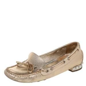 Miu Miu Metallic Gold Crystal Embellished Slip on Loafers Size 36.5
