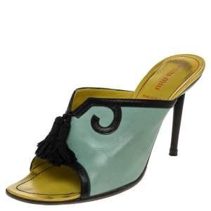 Miu Miu Green/Black Leather Tassel Peep Toe Slide Sandals Size 38.5