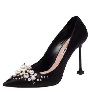 Miu Miu Black Satin Crystal and Pearl Embellished Pointed Toe Pumps Size 39