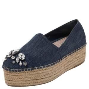 Miu Miu Blue Denim Embellished Platform Espadrille Loafers Size 37