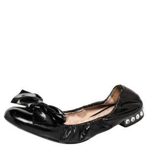 Miu Miu Black Patent Leather Bow Detail Crystal Embellished Scrunch Ballet Flats Size 37