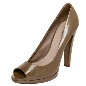 Miu Miu Dark Beige Patent Leather Peep Toe Pumps Size 39