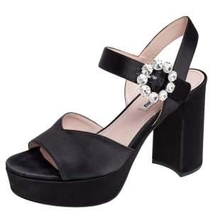 Miu Miu Black Satin Crystal Embellished Buckle Platform Ankle Strap Sandals Size 36