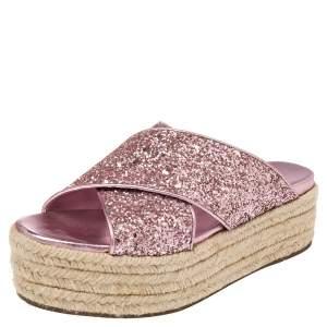 Miu Miu Pink Glitter Cross Strap Platform Espadrille Sandals Size 37.5