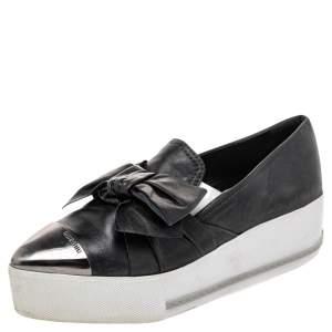 Miu Miu Black Leather Knot Bow Skate Metal Cap Toe Slip On Sneakers Size 38