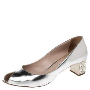 Miu Miu Silver Leather Crystal Embellished Peep Toe Block Heel Pumps Size 38