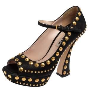 Miu Miu Black Suede Studded Peep Toe Platform Pumps Size 38.5