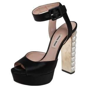 Miu Miu Black Satin Platform Ankle Strap Sandals Size 35.5