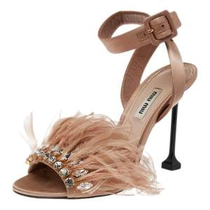Miu Miu Beige Satin And Feather Crystal Embellished Ankle Strap Sandals Size 37