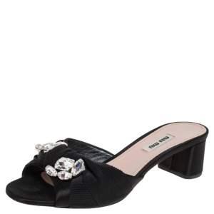 Miu Miu Black Satin and Canvas Crystal Embellished  Slide Sandals Size 38.5