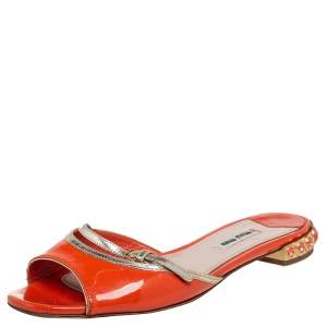 Miu Miu Orange Patent Leather  Slide Sandals Size 36.5