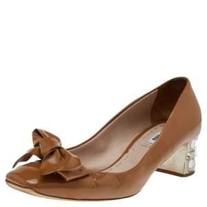 Miu Miu Dark Beige Patent Leather Bow Crystal Embellished Heel Pumps Size 37.5