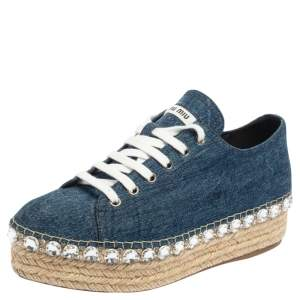 Miu Miu Blue Denim Espadrille Platform  Sneakers Size 39