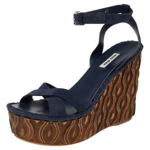 Miu Miu Blue Suede Wedge Platform Ankle Strap Sandals Size 40
