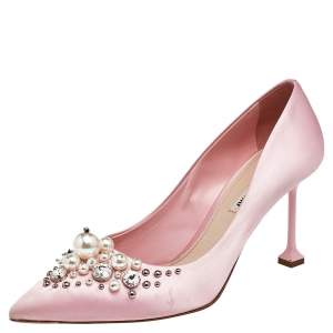 Miu Miu Pink Satin Embellished Pointed Toe Pumps Size 40