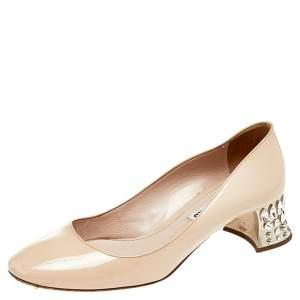 Miu Miu Beige Patent Leather Crystal Embellished Block Heel Pumps Size 37