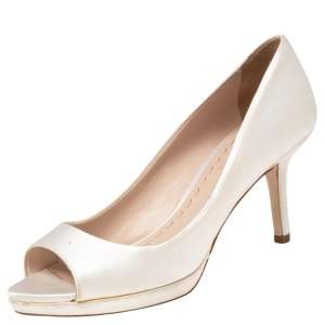 Miu Miu White Satin Peep Toe Pumps Size 38.5