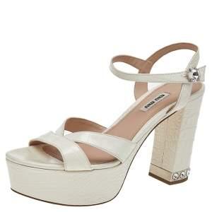 Miu Miu Croc Embossed Leather Crystal Embellished Block Heel Ankle Strap Platform Sandals Size 38.5