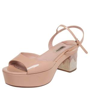 Miu Miu Beige Patent Leather Crystals Heel Ankle Strap Sandals Size 38