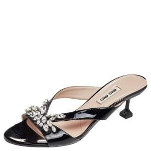 Miu Miu Black Patent Leather Crystal Slide Sandals Size 37