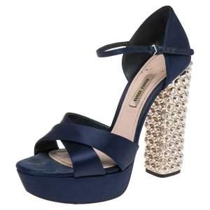 Miu Miu Dark Blue Satin Criss Cross Crystal Embellished Heel Sandals Size 38