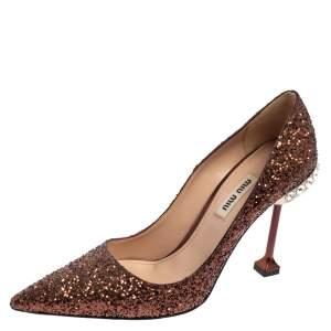 Miu Miu Brown Glitter Pointed Toe Pumps Size 36