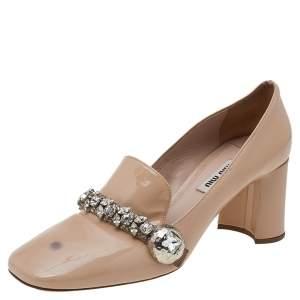 Miu Miu Beige Patent Leather Crystal Embellished Block Heel Pumps Size 38