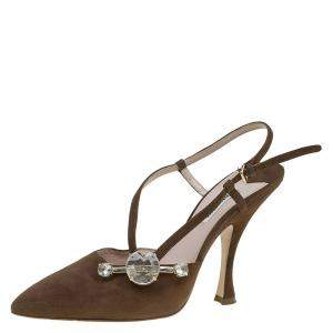 Miu Miu Brown Suede Jewel Embellished Strappy Sandals Size 39