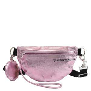 MM6 Maison Margiela Silver Pink Synthetic Leather Two-Compartment Bum Bag