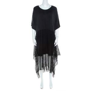 MM6 Maison Margiela Black Mesh Panel Overlay Oversized Midi Dress XS