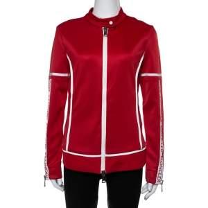 Moncler Red Jersey Contrast Trim Detail Zip Front Track Jacket L