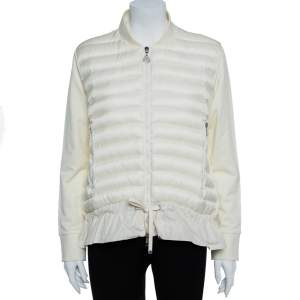 Moncler Cream White Nylon Maglia Puffer Jacket L