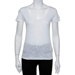 Moncler White Cotton Scoop Neck T-Shirt XS